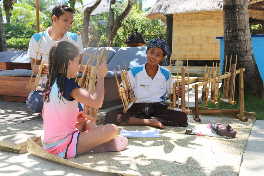 Girl Playing Angklung
