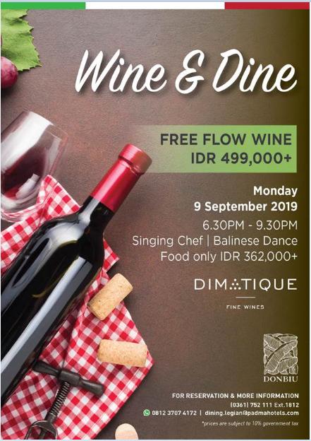 Wine and Dine dinner at Padma Resort Legian